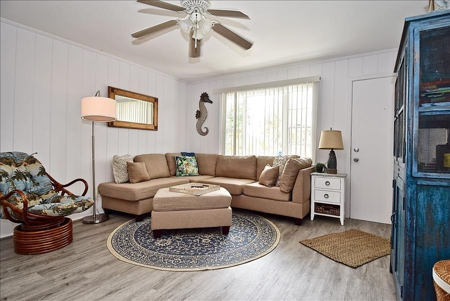 front room with comfortable new sectional