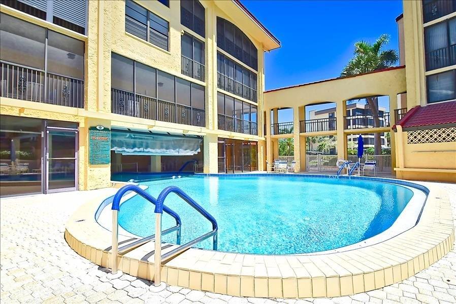 indoor, outdoor heated pool